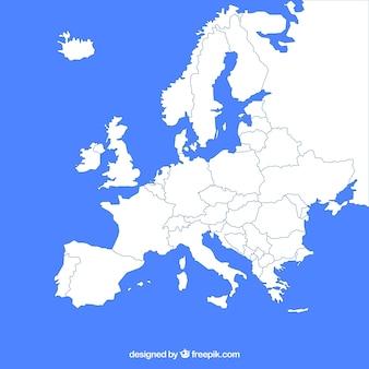 Carte de l'europe avec des couleurs dans le style plat