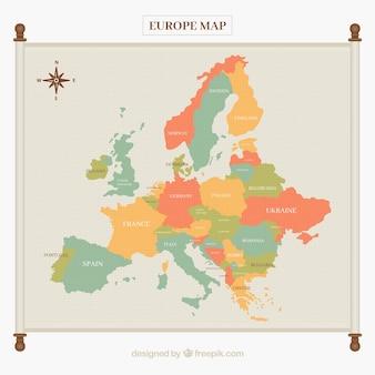 Carte de l'europe dans des tons doux