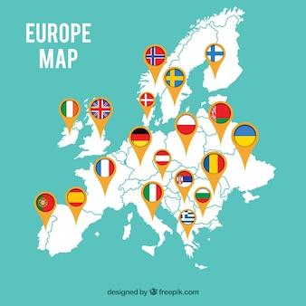 Carte de l'europe avec des drapeaux
