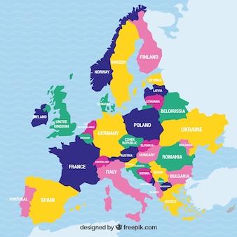 Carte de l'europe avec des pays de couleurs