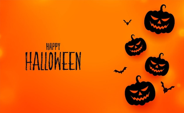 Carte d'événement joyeux halloween avec citrouilles et chauves-souris