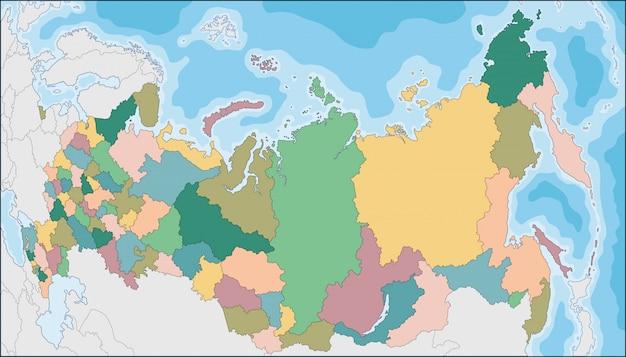 Carte de la fédération de russie avec des sujets fédéraux