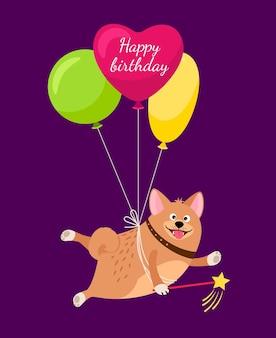 Carte de félicitations avec chien souriant. bon anniversaire