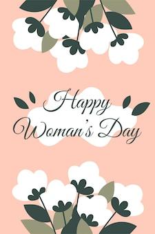 Carte de félicitations de printemps pour la journée de la femme, le 8 mars avec des fleurs. carte carrée rose avec une inscription.