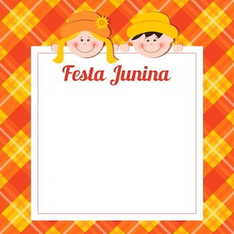Carte festa junina avec garçon et fille.
