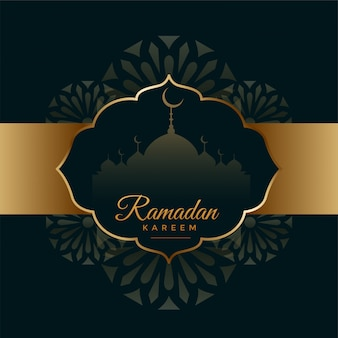 Carte de festival arabe ramadan kareem noir et or