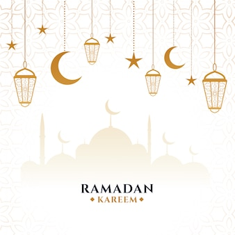 Carte de festival décoratif ramadan kareem élégant