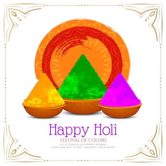Carte de festival indien happy holi élégant