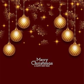 Carte de festival joyeux noël avec des boules de noël dorées