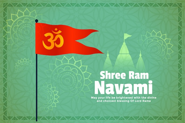 Carte de festival de navami ram hindou avec drapeau et temple
