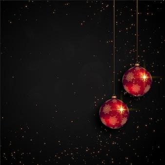 Carte de festival de noël noir avec ballon réaliste