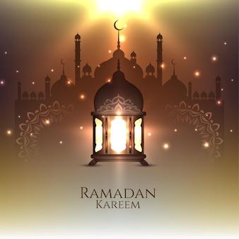 Carte de festival ramadan kareem avec lanterne rougeoyante