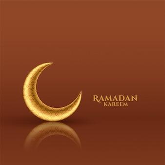 Carte de festival de ramadan kareem lune dorée brillante
