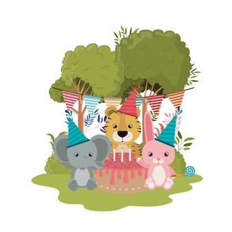 Carte de fête avec des animaux