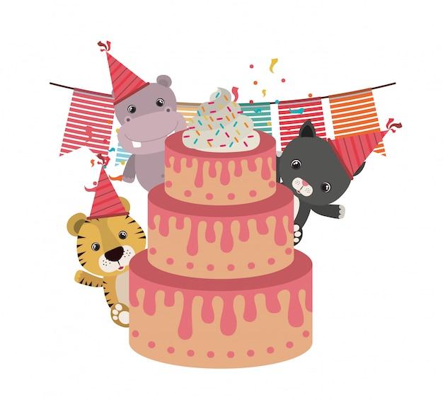 Carte de fête d'anniversaire avec des animaux