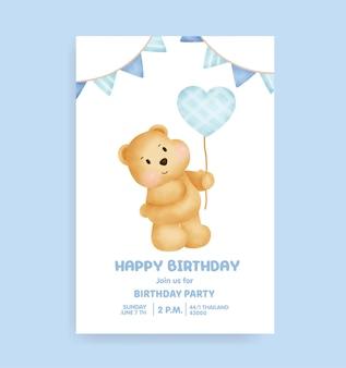 Carte de fête d'anniversaire avec un joli ours en peluche