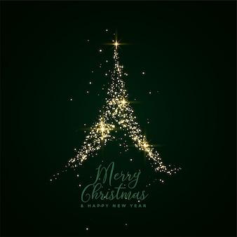 Carte de fête arbre joyeux noël sparkle