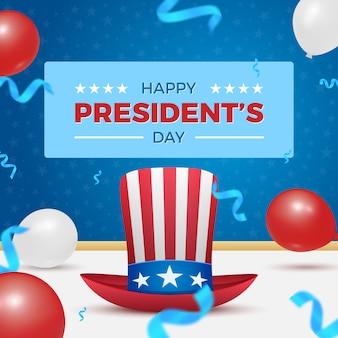 Carte de fête du président heureux avec chapeau oncle sam et ballons à air chaud pour la célébration des vacances américaines.