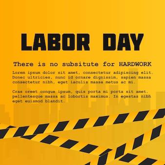 Carte de fête du travail avec un design créatif et fond jaune