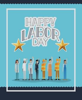 Carte de fête du travail heureux avec les travailleurs vector illustration design