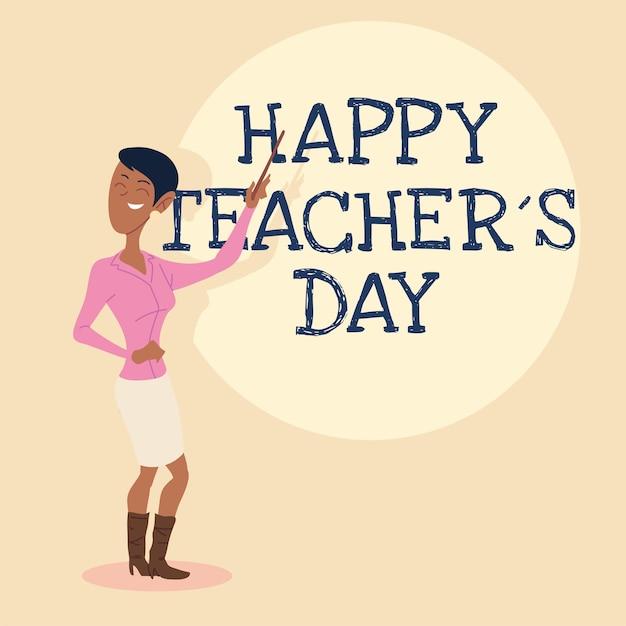 Carte de fête des enseignants heureux avec un design de femme