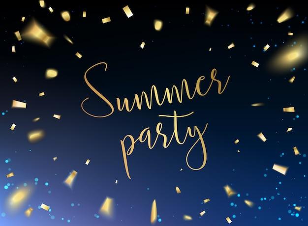 Carte de fête d'été avec des confettis dorés sur fond noir.