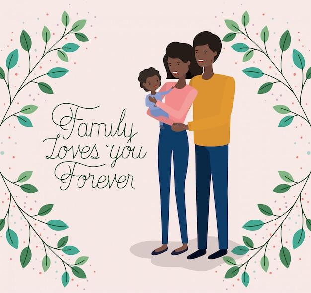 Carte de fête familiale avec les parents noirs et la couronne de feuilles fille