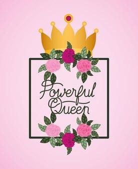 Carte de fête de femme avec roses et couronne
