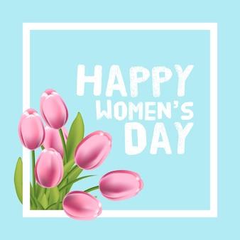 Carte de fête des femmes heureuse. tulipe et cadre. illustration vectorielle.