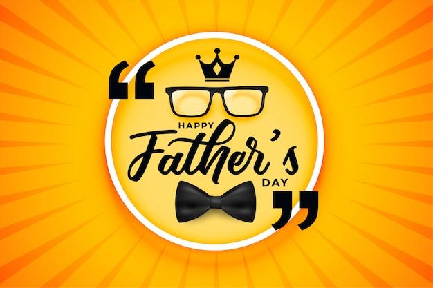 Carte de fête de fête des pères heureux avec arc de couronne et spectacle
