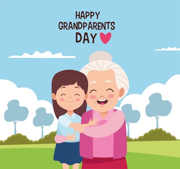 Carte de fête des grands-parents heureux avec grand-mère et petite-fille