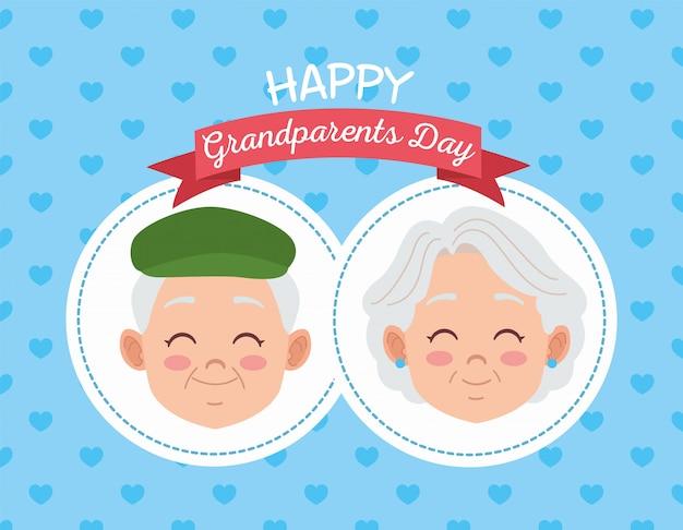 Carte de fête des grands-parents heureux avec illustration de vieux couple