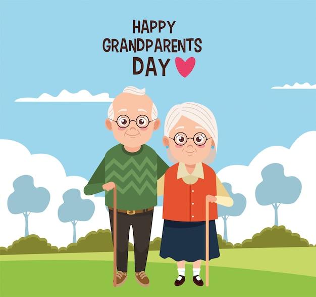 Carte de fête des grands-parents heureux avec vieux couple au camp