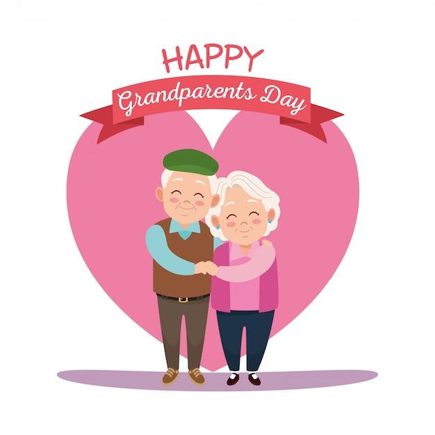 Carte de fête des grands-parents heureux avec vieux couple en coeur