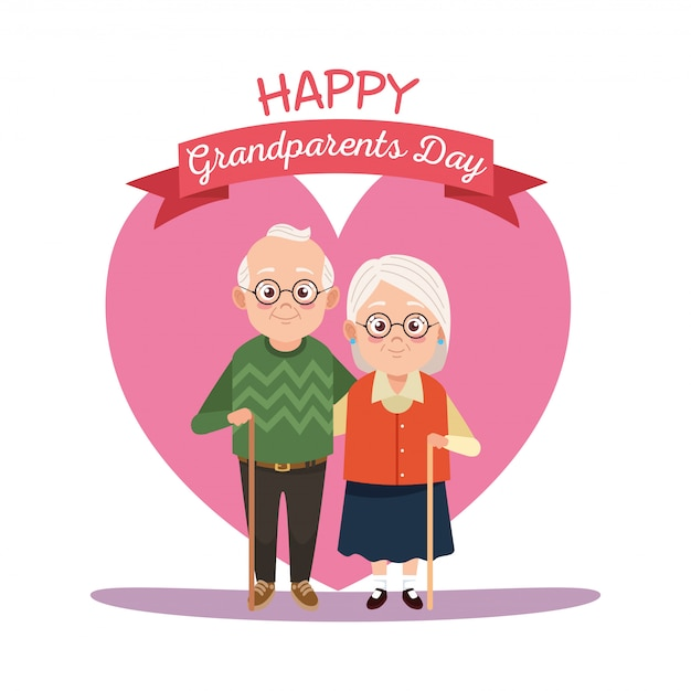 Carte de fête des grands-parents heureux avec vieux couple en illustration de coeur