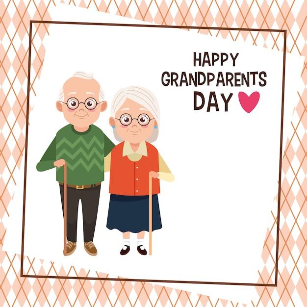 Carte de fête des grands-parents heureux avec vieux couple