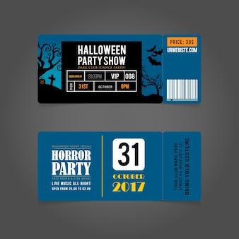 Carte de fête d'halloween entrée passes.halloween billets de fête.