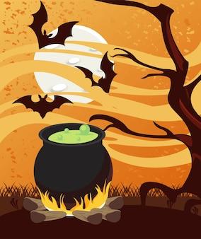 Carte de fête d'halloween heureux avec chaudron et chauves-souris volant dans la forêt.