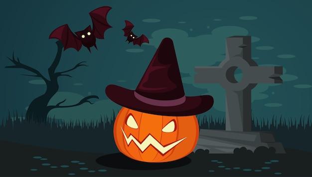 Carte de fête d'halloween heureux avec citrouille et chauves-souris au cimetière