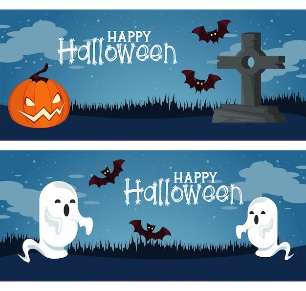 Carte de fête d'halloween heureux avec citrouille et fantômes au cimetière