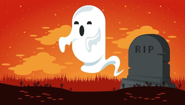 Carte de fête d'halloween heureux avec fantôme au cimetière