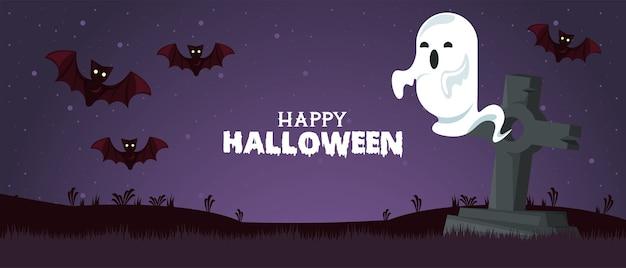 Carte de fête d'halloween heureux avec fantôme et chauves-souris au cimetière