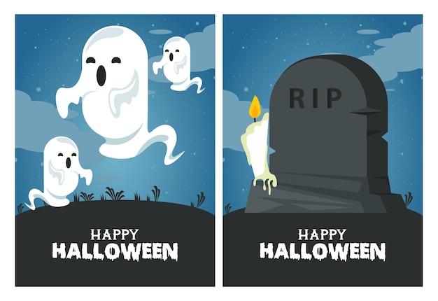 Carte de fête d'halloween heureux avec des fantômes et pierre tombale