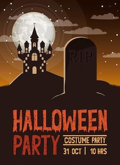 Carte de fête d'halloween avec scène de cimetière et château