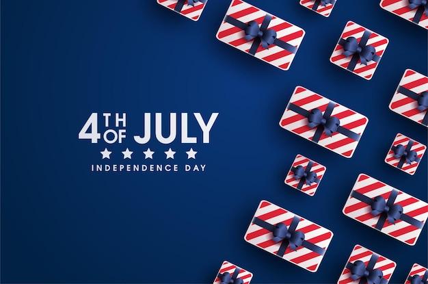 Carte de la fête de l'indépendance américaine du 4 juillet avec coffrets cadeaux