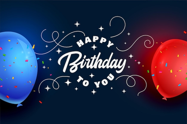 Carte de fête de joyeux anniversaire avec des ballons réalistes et des confettis
