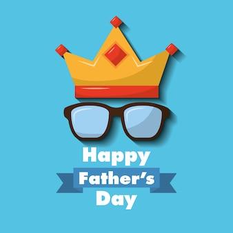 Carte de fête de joyeux fête des pères couronne verres