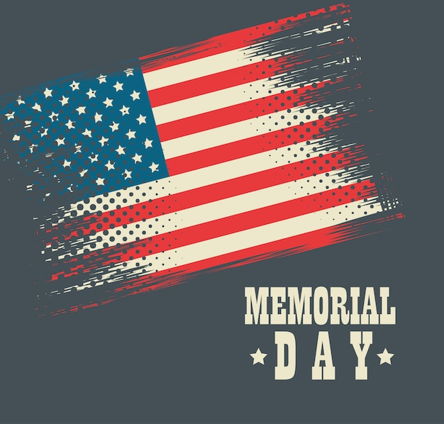 Carte de fête joyeux jour du souvenir avec drapeau usa