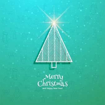 Carte de fête joyeux noël arbre et bonne année