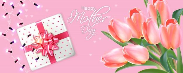 Carte de fête des mères avec bouquet de tulipes